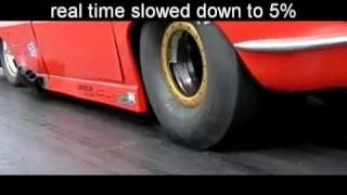 Деформация дрэговых сликов во время заезда [slow-mo]