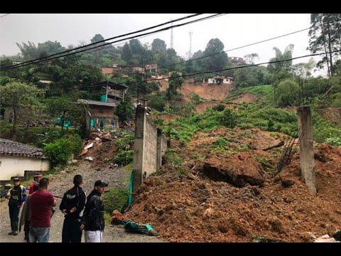 Impresionantes imagenes del derrumbe en el municipio de Caldas que arraso con siete viviendas