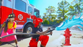 Last To Leave The Fire Truck Wins!  Ellie Learns About Firefighters #withme
