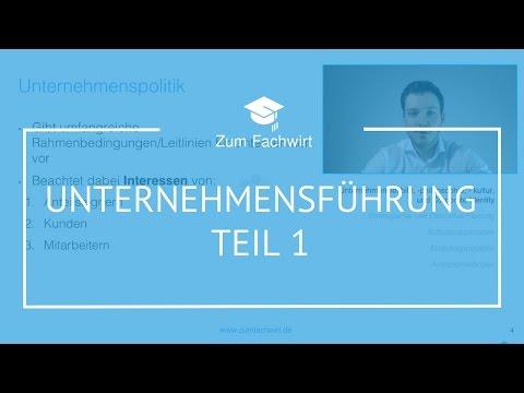 Unternehmensführung Teil 1 Wirtschaftsfachwirt/Fachwirt IHK Betriebsorganisation Demokurs