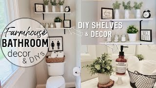 FARMHOUSE BATHROOM DECORATE WITH ME | DOLLAR TREE DIYS | FARMHOUSE DECOR
