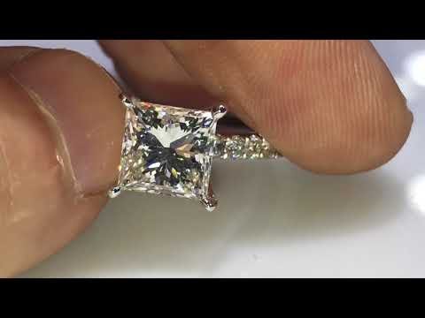 Mike Nekta strikes again with a beautiful 3 carat princess cut GIA certified on one roll micro pave