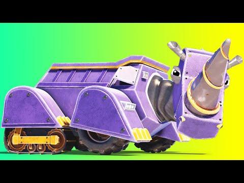 动物汽车 - 圣诞节:犀牛翻斗卡车变身圣诞雪橇 - 动物和卡车幼儿动画