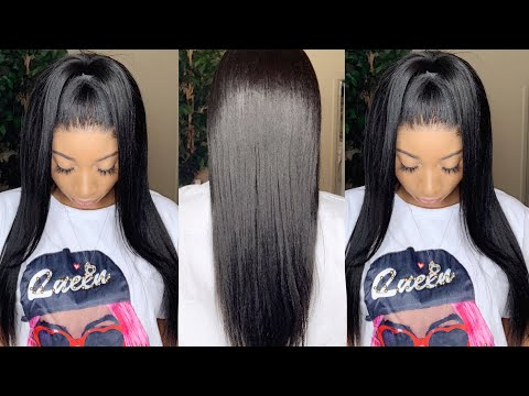 Affordable Natural Kinky Straight Wig Install Using Ghost Bond Glue | omgherhair