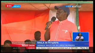 Raila Odinga starts two day tour to Kenyan Coast in an effort to mobilize youths on voter listing