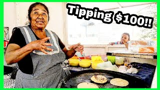 """REAL Life """"Coco"""" Cooking The ULTIMATE Mexican Street Food - Tipping $100 Dollars In Mexico GORDITAS"""