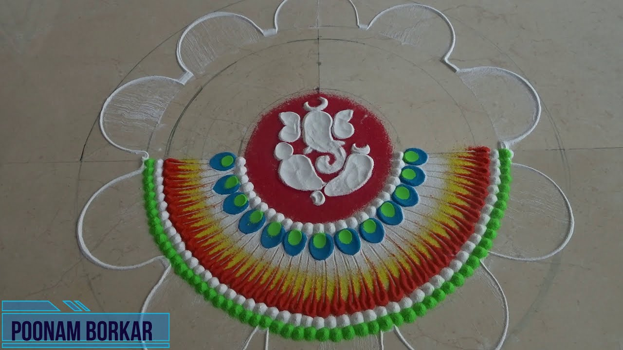 ganesh chathurthi special flower rangoli design by poonam borkar
