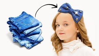 3 Lazos Y Accesorios Para Niñas Con Jeans || Manualidades Recicladas || Ecobrisa