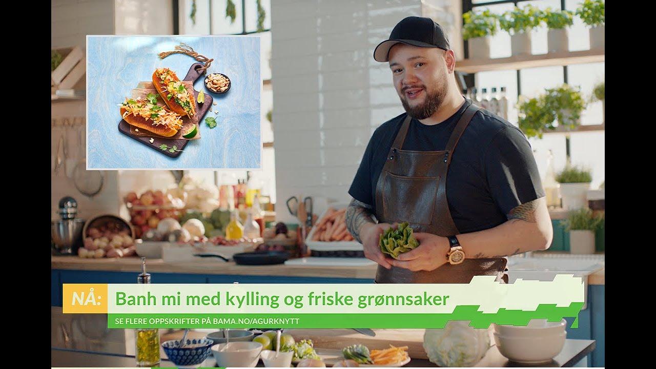 Banh mi med kylling og friske grønnsaker