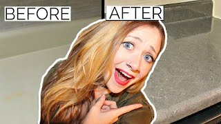 DIY PEEL N STICK FAUX GRANITE COUNTERTOP!?! Does this REALLY Work!? | Laci Jane