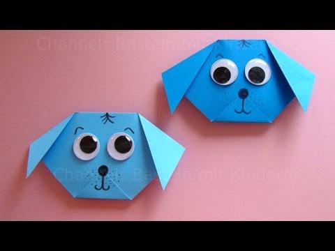 Origami: Hund falten mit Papier - Einfachen Hund Basteln mit Kindern - DIY Origami Tiere