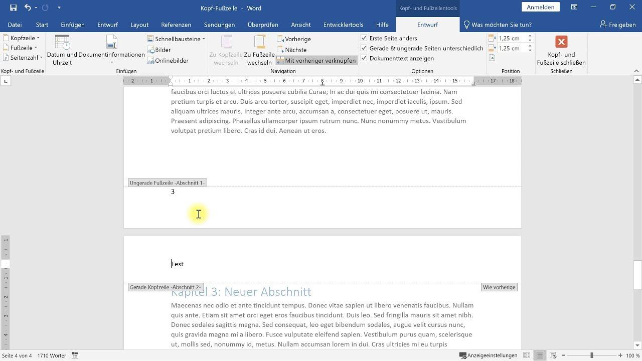 Individuelle Kopfzeile und Fußzeile ab bestimmter Seite – Word-Tutorial