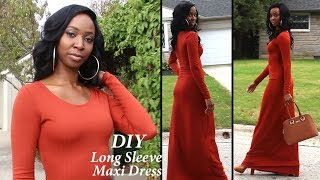 DIY  Long Sleeve Maxi Dress (Easy) Step By Step