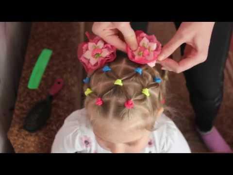Прическа хвостики с резиночками в детский сад и не только