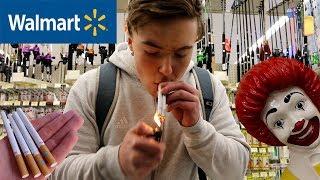 SMOKING CIGARETTES IN WALMART