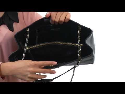 DKNY Saffiano Leather Shopper w/ Chain  SKU:#8296567