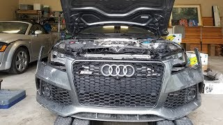 Rebuilding a Salvage Audi RS7: Fitting the Bumper, Finding Suspension Damage