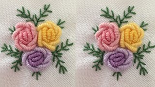 Simple & Easy Hand Embroidery Stitches | Rose Flower Design Tutorial | Hand Embroidery : Rose Flower