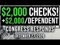 $2000 CHECK + $2000/DEPENDENT SECOND STIMULUS CHECK UPDATE & STIMULUS PACKAGE 12/27/2020