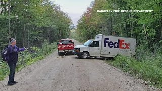 Maine Fed-Ex driver spends night in stuck truck