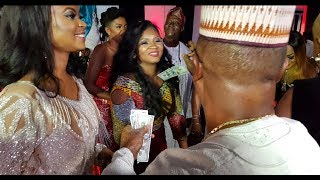Omotola Dances So Hard As Super Rich Chief Sprays 100 Dollar Notes On Her At Her 40th Birthday
