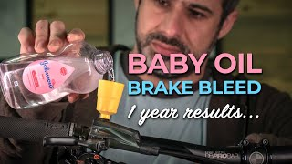 I filled my mountain bike brakes with baby oil for a year and here are the results!