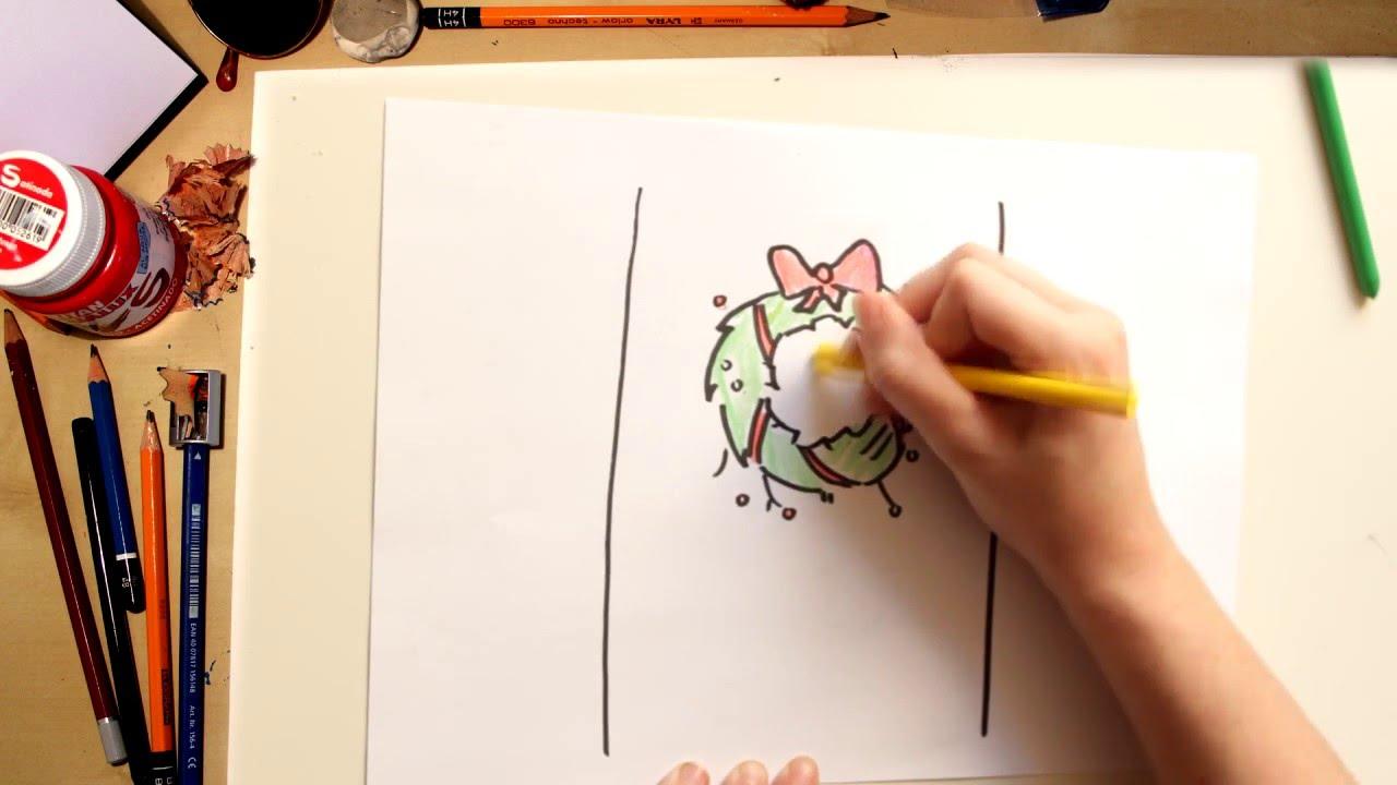Cómo dibujar una corona de Navidad - dibujos de Navidad para niños