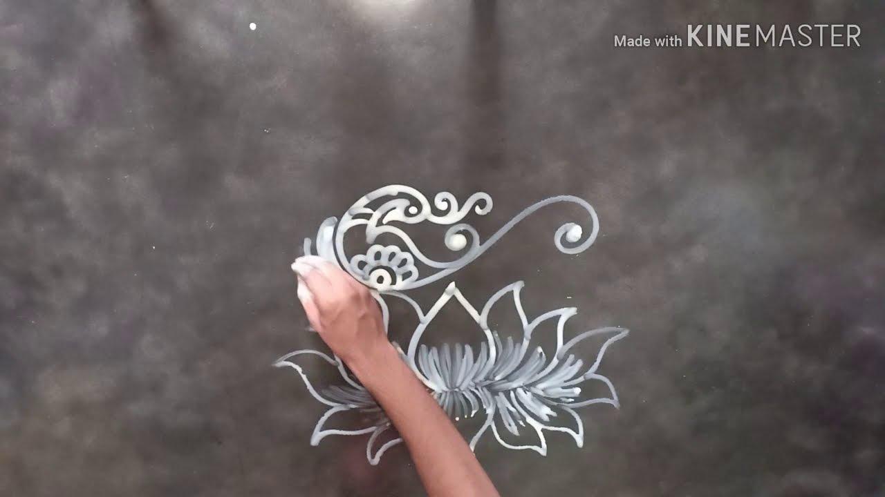 lotus an sankh alpana rangoli design by mukesh arts