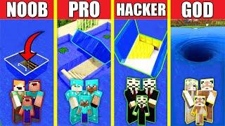 Minecraft Battle: WATER ENTRANCE BUILD CHALLENGE - NOOB vs PRO vs HACKER vs GOD / Animation HOUSE