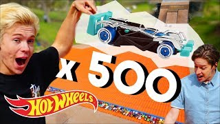 500 CARS vs THE MEGA RAMP w/Tanner Fox | Hot Wheels Unlimited | @Hot Wheels