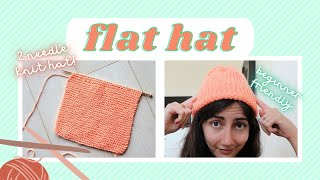 Two Needle Knit Beanie \\ How To Knit A Flat Hat On Straight Needles - Absolute Beginner Friendly!