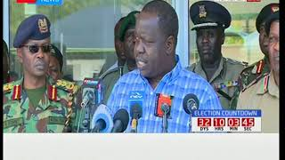 Acting Interior Secretary Fred Matiangi makes an address during a security meeting in Mombasa