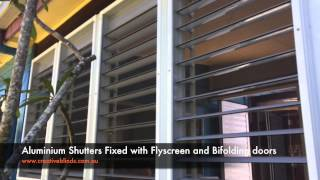 Aluminium Shutters Byron Bay with Flyscreens & Bi-folding Doors
