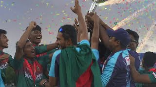 Bangladesh defeated India by three wickets on the DLS method to win the ICC U19 Cricket World Cup 2020 trophy in Potchefstroom!