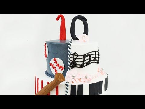 How to make a Two Sided cake with Whipped Cream | Baseball and Piano Cake Tutorial