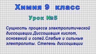 Химия 9 класс Урок 5 - Сущность процесса электролитической диссоциации.