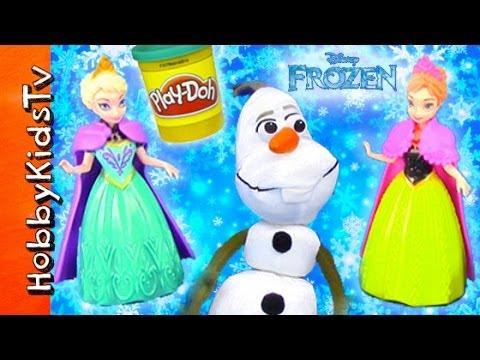 PLAY-DOH Snow Cape! Anna + Olaf Snowball Fight HobbyKidsTV