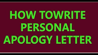 How to Write a Personal Apology Letter || Apology Letter Kaise Likhe