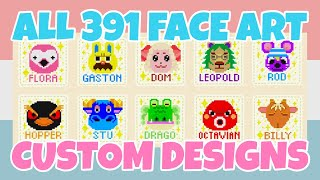 Complete 391 Villagers Face Art Custom Designs In Animal Crossing New Horizons (Design ID Codes)