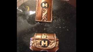 Hand tooled leather bag for insulin pump and matching wallet