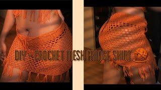 Crochet Mesh Skirt With Fringes ( Bikini Cover Up )