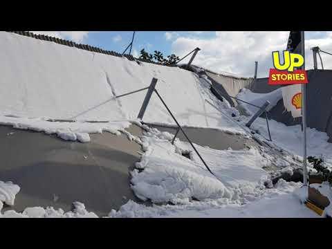 Βενζινάδικο κατέρρευσε από το βάρος του χιονιού στο Χαϊδάρι
