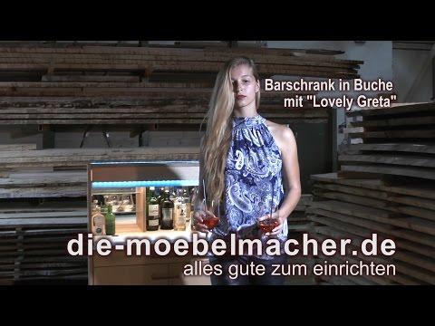 """Barschrank in Buche mit """"Lovely Greta"""""""