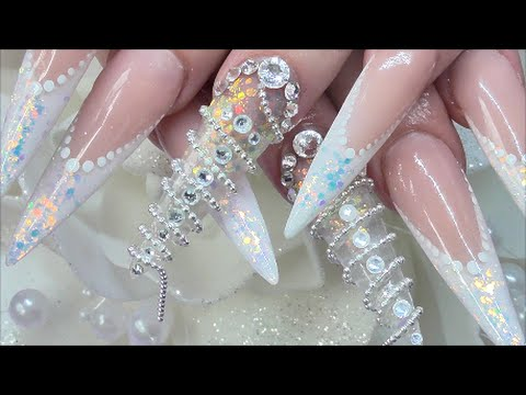 CRYSTAL CHAIN SCULPTED NAILS - Cadena Esculpido Uñas  - COLLAB WITH UNIQUE NAILZ | ABSOLUTE NAILS