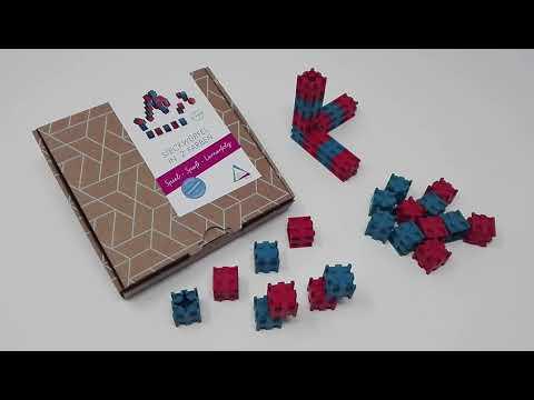 30 Steckwürfel rot/blau aus RE-Wood® 080582.IMP