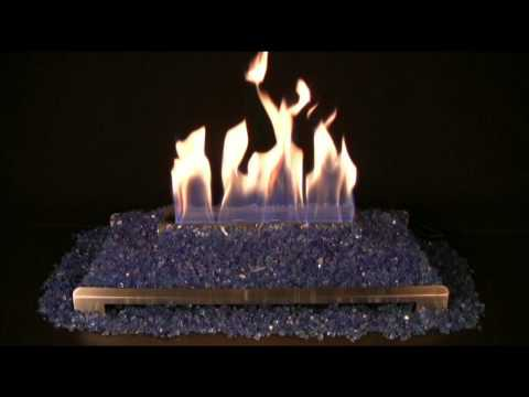 Alterna Cobalt Blue FireGlitter Set for See-through Fireplaces - Vent-Free Stainless steel Chassis Burner