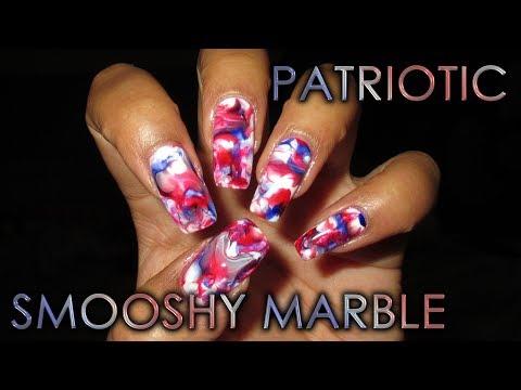 Patriotic Red White & Blue Smooshy Marble | DIY Nail Art Tutorial