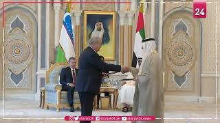 Mohamed bin Zayed,Uzbekistan Presiden witness exchange of MoUs