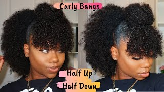 Natural Hairstyle - Half Up Half Down With Curly Bangs | Is CurlsCurls Natural Clip-in Worth Buying?