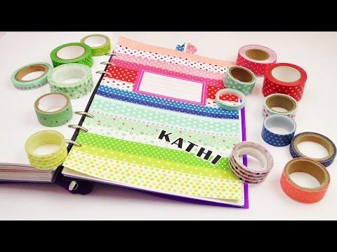 DIY Filofax Register für  Washi Tape Fans    Regenbogenmuster mit Punkten   Kalender Idee
